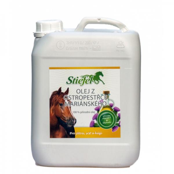 Stiefel, olej z ostropestreca mariánskeho pre kone, srsť koní, koža koní, letná vyrážka, alergia na hmyz, kožné problémy koní, presrsťovanie koní, kopytá koní, pečeň koní, regenerácia koní, regenerácia pečene