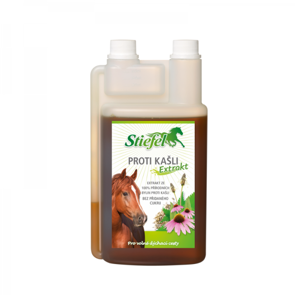 Stiefel, tekutý bylinný extrakt Proti kašľu pre kone, dýchanie koní, dýchacie cesty koní, bylinky pre dýchanie koní, sirup pre dýchanie koní, bylinky pre dýchaciu sústavu koní, sirup pre dýchaciu sústavu koní, kašeľ koní, výživový doplnok pre kone, výživový doplněk pro kone