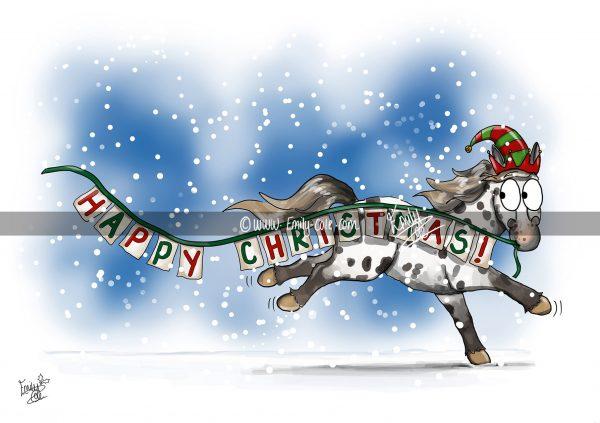 pohľadnica, pohľadnica so vzorom koňa, pohľadnica so vzorom koní, pohľadnica s motívom koňa, pohľadnica s motívom koní, pohľadnica s ilustárciou koňa, pohľadnica s ilustráciou koní, emily cole, pohľadnice vianočné
