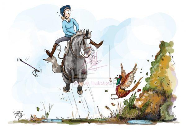 pohľadnica, pohľadnica so vzorom koňa, pohľadnica so vzorom koní, pohľadnica s motívom koňa, pohľadnica s motívom koní, pohľadnica s ilustárciou koňa, pohľadnica s ilustráciou koní, emily cole, pohľadnica A pheasant greeting