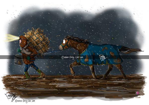 pohľadnica, pohľadnica so vzorom koňa, pohľadnica so vzorom koní, pohľadnica s motívom koňa, pohľadnica s motívom koní, pohľadnica s ilustárciou koňa, pohľadnica s ilustráciou koní, emily cole, pohľadnica Soldiering on