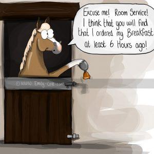 pohľadnica, pohľadnica so vzorom koňa, pohľadnica so vzorom koní, pohľadnica s motívom koňa, pohľadnica s motívom koní, pohľadnica s ilustárciou koňa, pohľadnica s ilustráciou koní, emily cole, pohľadnica Room service