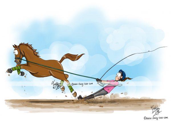 pohľadnica, pohľadnica so vzorom koňa, pohľadnica so vzorom koní, pohľadnica s motívom koňa, pohľadnica s motívom koní, pohľadnica s ilustárciou koňa, pohľadnica s ilustráciou koní, emily cole, pohľadnica Lunge line