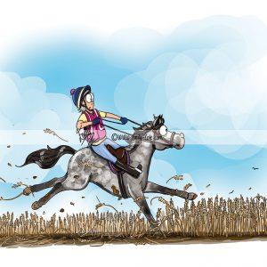 pohľadnica, pohľadnica so vzorom koňa, pohľadnica so vzorom koní, pohľadnica s motívom koňa, pohľadnica s motívom koní, pohľadnica s ilustárciou koňa, pohľadnica s ilustráciou koní, emily cole, pohľadnica Farmer´s Field