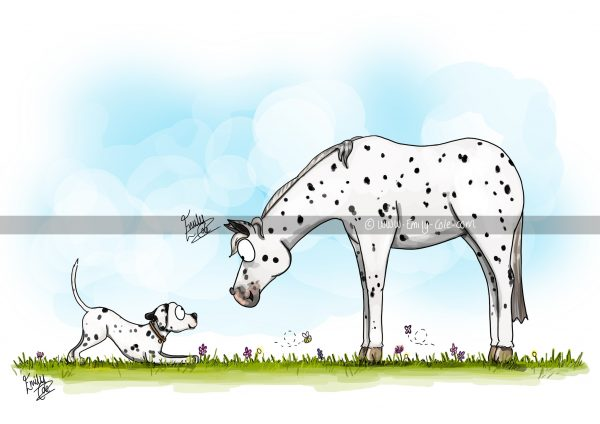 pohľadnica, pohľadnica so vzorom koňa, pohľadnica so vzorom koní, pohľadnica s motívom koňa, pohľadnica s motívom koní, pohľadnica s ilustárciou koňa, pohľadnica s ilustráciou koní, emily cole, pohľadnica Seeing spots