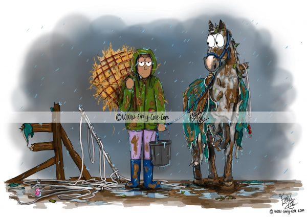 pohľadnica, pohľadnica so vzorom koňa, pohľadnica so vzorom koní, pohľadnica s motívom koňa, pohľadnica s motívom koní, pohľadnica s ilustárciou koňa, pohľadnica s ilustráciou koní, emily cole, pohľadnica Oh winter
