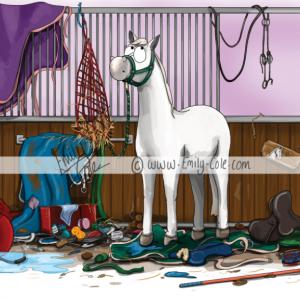 pohľadnica, pohľadnica so vzorom koňa, pohľadnica so vzorom koní, pohľadnica s motívom koňa, pohľadnica s motívom koní, pohľadnica s ilustárciou koňa, pohľadnica s ilustráciou koní, emily cole, pohľadnica Unexplained mess
