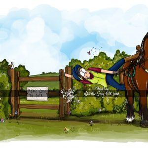 pohľadnica, pohľadnica so vzorom koňa, pohľadnica so vzorom koní, pohľadnica s motívom koňa, pohľadnica s motívom koní, pohľadnica s ilustárciou koňa, pohľadnica s ilustráciou koní, emily cole, pohľadnica Close the gate