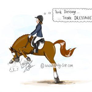 pohľadnica, pohľadnica so vzorom koňa, pohľadnica so vzorom koní, pohľadnica s motívom koňa, pohľadnica s motívom koní, pohľadnica s ilustárciou koňa, pohľadnica s ilustráciou koní, emily cole, pohľadnica Think dressage