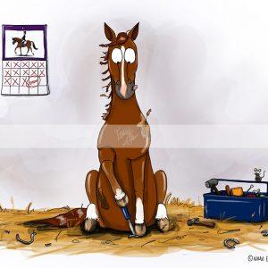 pohľadnica, pohľadnica so vzorom koňa, pohľadnica so vzorom koní, pohľadnica s motívom koňa, pohľadnica s motívom koní, pohľadnica s ilustárciou koňa, pohľadnica s ilustráciou koní, emily cole, pohľadnica No shoe, no show