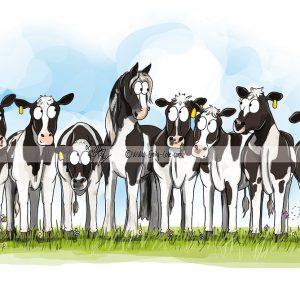 pohľadnica, pohľadnica so vzorom koňa, pohľadnica so vzorom koní, pohľadnica s motívom koňa, pohľadnica s motívom koní, pohľadnica s ilustárciou koňa, pohľadnica s ilustráciou koní, emily cole, pohľadnica Cow pony