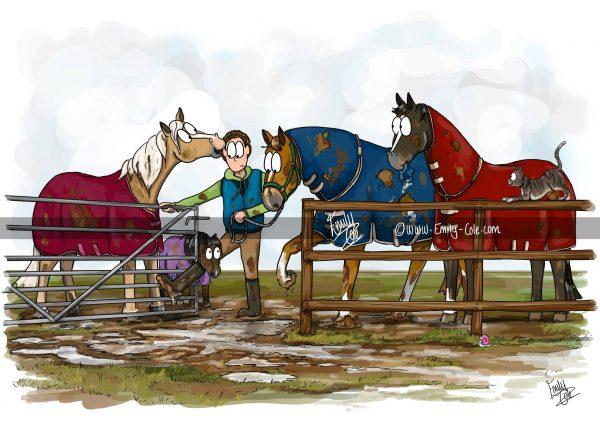 pohľadnica, pohľadnica so vzorom koňa, pohľadnica so vzorom koní, pohľadnica s motívom koňa, pohľadnica s motívom koní, pohľadnica s ilustárciou koňa, pohľadnica s ilustráciou koní, emily cole, pohľadnica Hold your horses