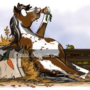 pohľadnica, pohľadnica so vzorom koňa, pohľadnica so vzorom koní, pohľadnica s motívom koňa, pohľadnica s motívom koní, pohľadnica s ilustárciou koňa, pohľadnica s ilustráciou koní, emily cole, pohľadnica The diet starts tomorrow