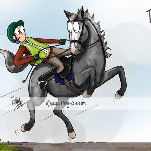 pohľadnica, pohľadnica so vzorom koňa, pohľadnica so vzorom koní, pohľadnica s motívom koňa, pohľadnica s motívom koní, pohľadnica s ilustárciou koňa, pohľadnica s ilustráciou koní, emily cole, pohľadnica Who left those there!?