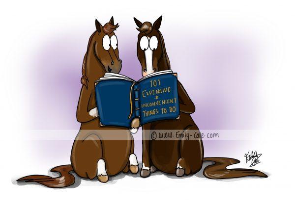 pohľadnica, pohľadnica so vzorom koňa, pohľadnica so vzorom koní, pohľadnica s motívom koňa, pohľadnica s motívom koní, pohľadnica s ilustárciou koňa, pohľadnica s ilustráciou koní, emily cole, pohľadnica 101 expensive and inconvenient things to do