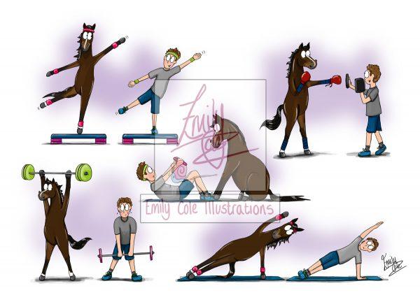 pohľadnica, pohľadnica so vzorom koňa, pohľadnica so vzorom koní, pohľadnica s motívom koňa, pohľadnica s motívom koní, pohľadnica s ilustárciou koňa, pohľadnica s ilustráciou koní, emily cole, pohľadnica Season Prep