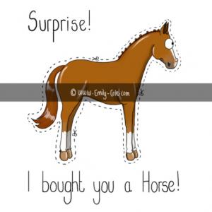 pohľadnica, pohľadnica so vzorom koňa, pohľadnica so vzorom koní, pohľadnica s motívom koňa, pohľadnica s motívom koní, pohľadnica s ilustárciou koňa, pohľadnica s ilustráciou koní, emily cole, pohľadnica Surprise horse