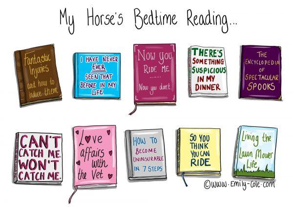 pohľadnica, pohľadnica so vzorom koňa, pohľadnica so vzorom koní, pohľadnica s motívom koňa, pohľadnica s motívom koní, pohľadnica s ilustárciou koňa, pohľadnica s ilustráciou koní, emily cole, pohľadnica Bedtime reading