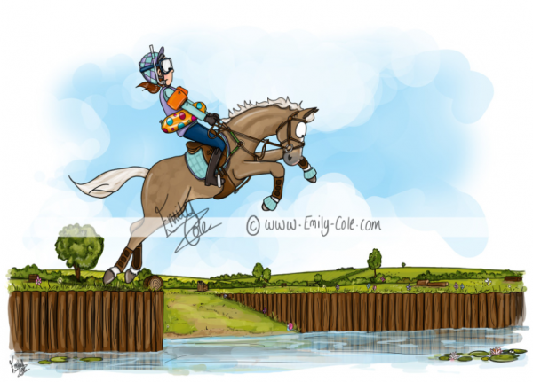 pohľadnica, pohľadnica so vzorom koňa, pohľadnica so vzorom koní, pohľadnica s motívom koňa, pohľadnica s motívom koní, pohľadnica s ilustárciou koňa, pohľadnica s ilustráciou koní, emily cole, pohľadnica The water jump