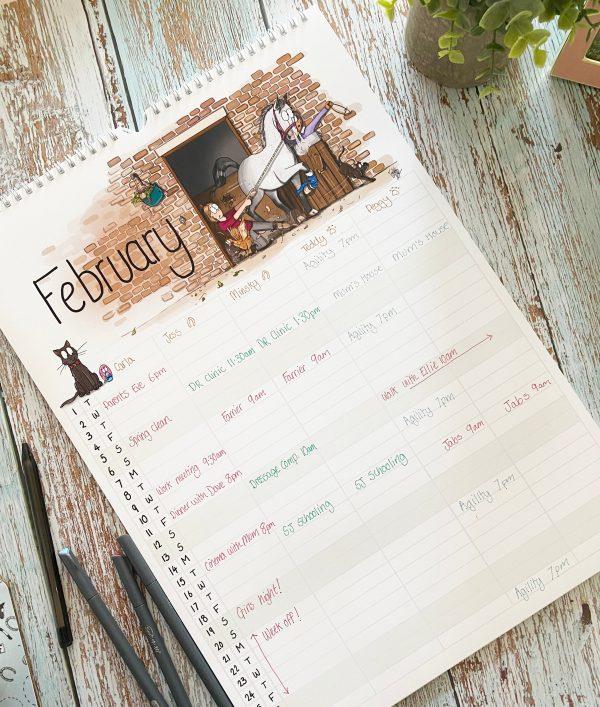 kalendár, kone, kôň, kalendár s konským vzorom, kalendár s konským motívom, kalendár s ilustráciami koní, kalendár s vtipnými ilustráciami koní, kalendár od emily cole, emily cole, plánovací kalendár